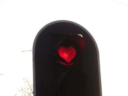 heart-shaped traffic light