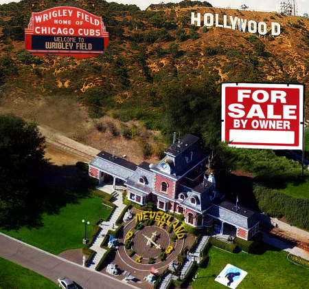 Wrigley Field's name, Neverland Ranch, and the land below the Hollywood Sign For Sale