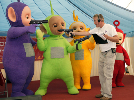 teletubbies pull out guns