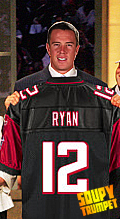 Photoshop of Matt Ryan holding a Falcons jersey at the draft